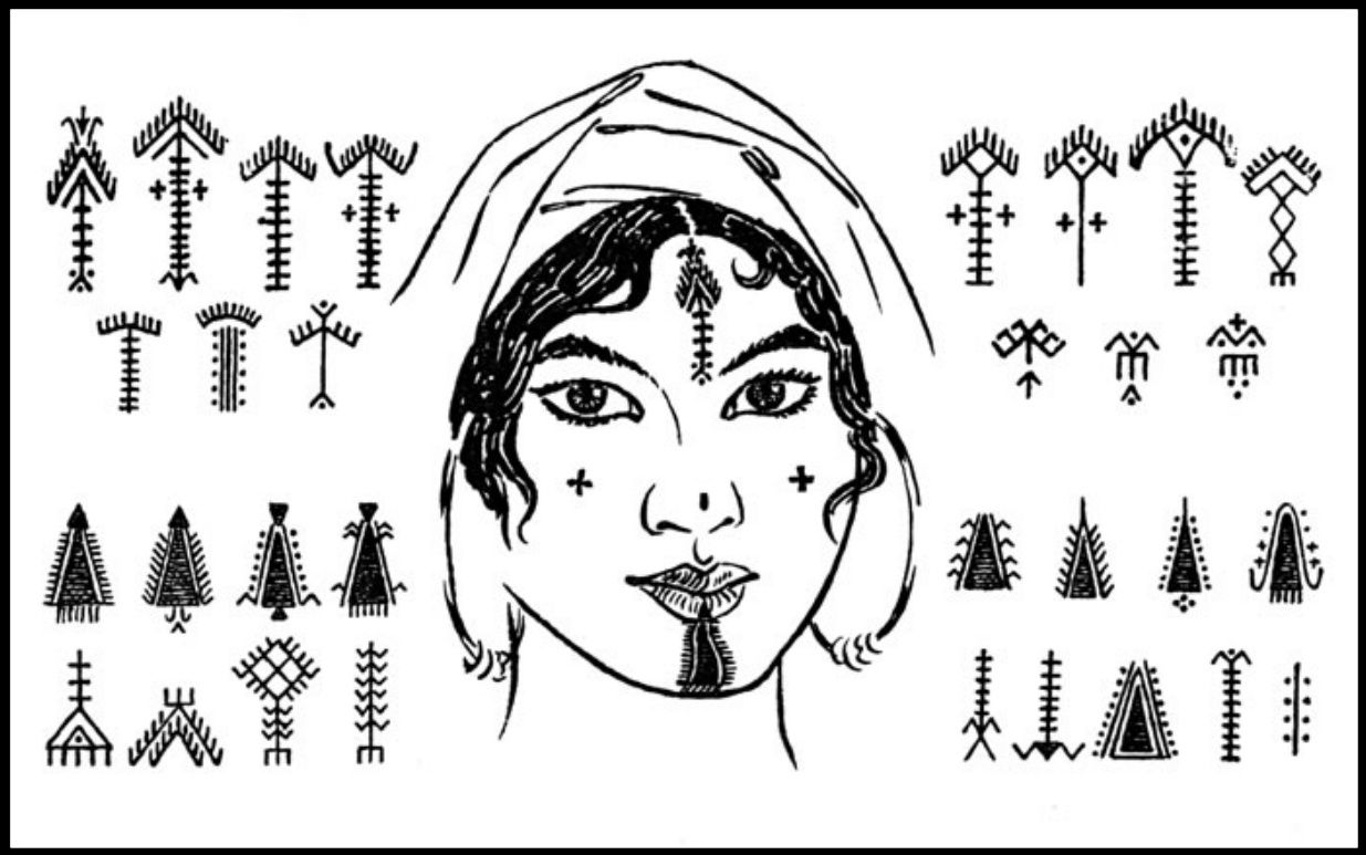 Examples of traditional Amazigh tattoos.