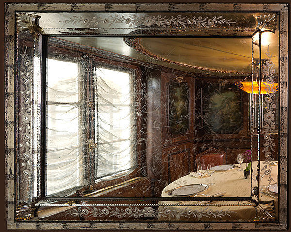 Etched mirror of Laperouse Restaurant. Image credit: Au Bonheur du Jour