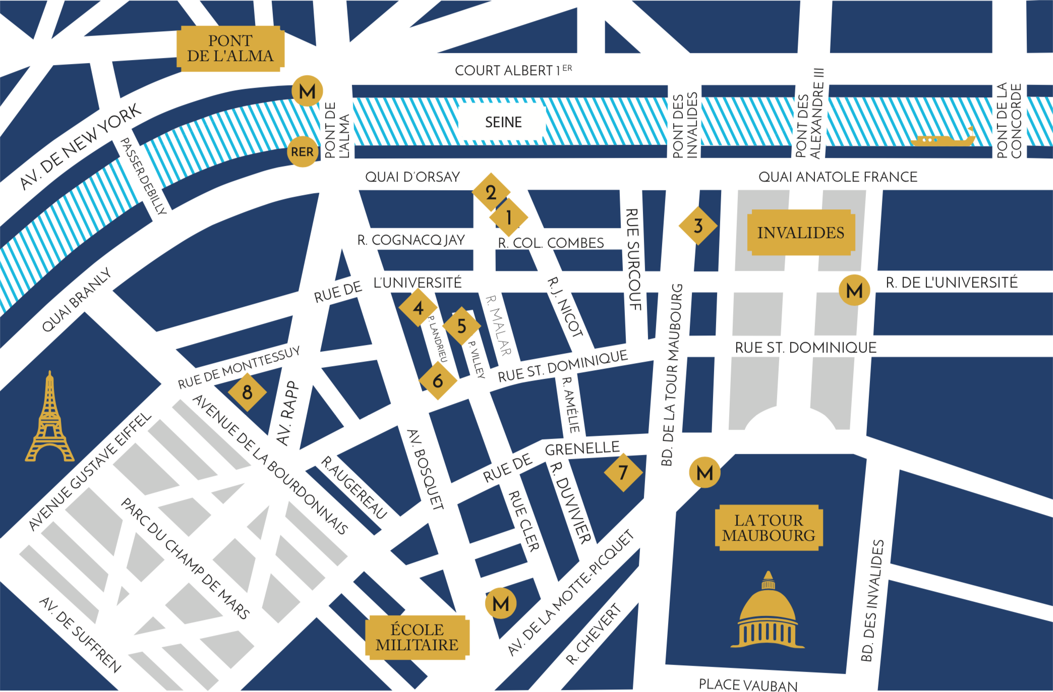 An updated campus map, including the Quai building