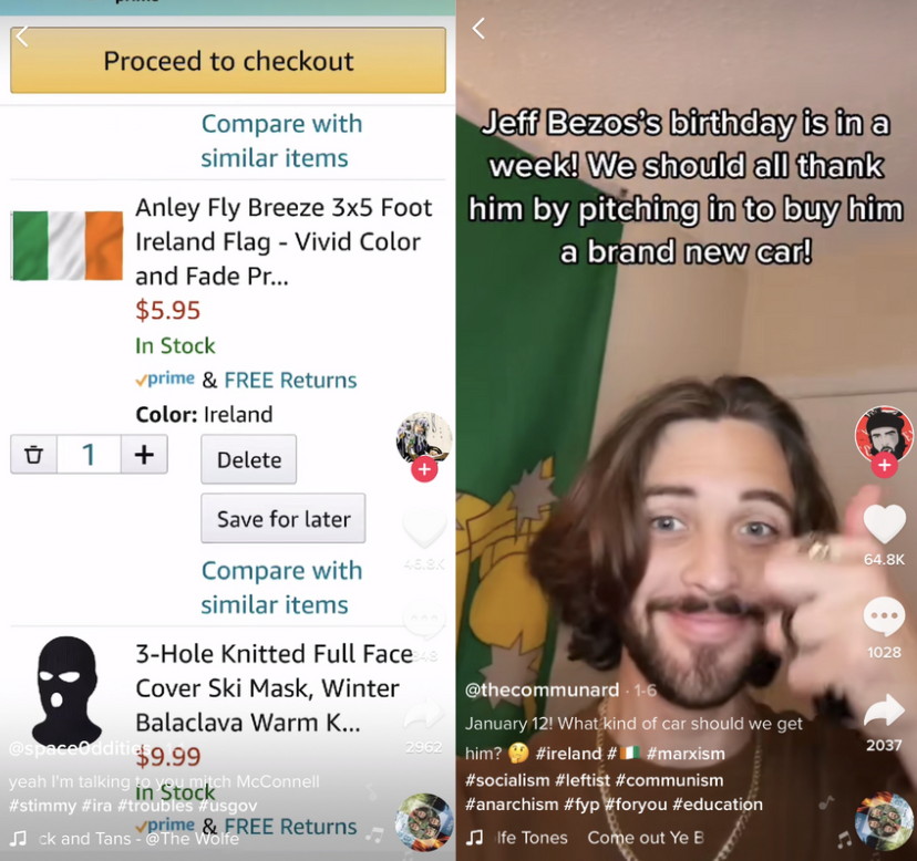 Screenshot: TikTok users @space0ddities (left) and @thecommundard (right)