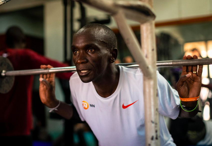 Kipchoge Lifting weights at the gym/Image Credit: INEOS