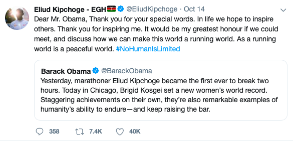 Image Credit/Twitter: Barack Obama and Eliud Kipchoge