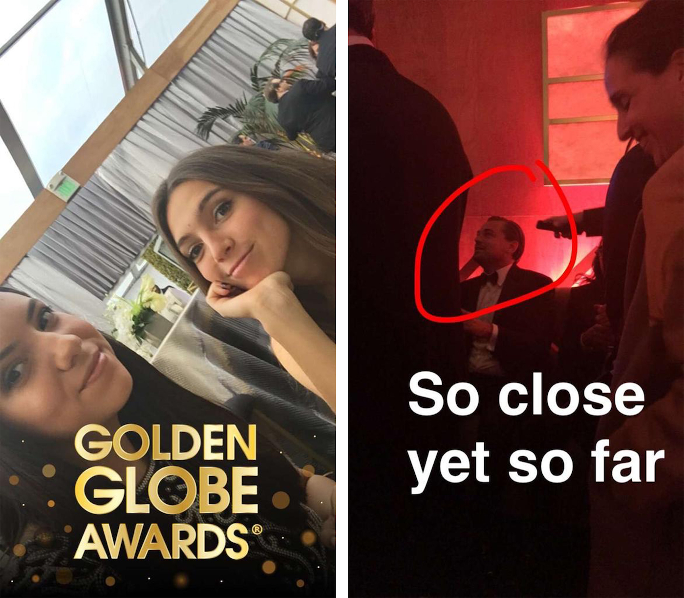 Anna and her cousin alongside Leonardo DiCaprio. Image Credit: Anna's* Snapchat