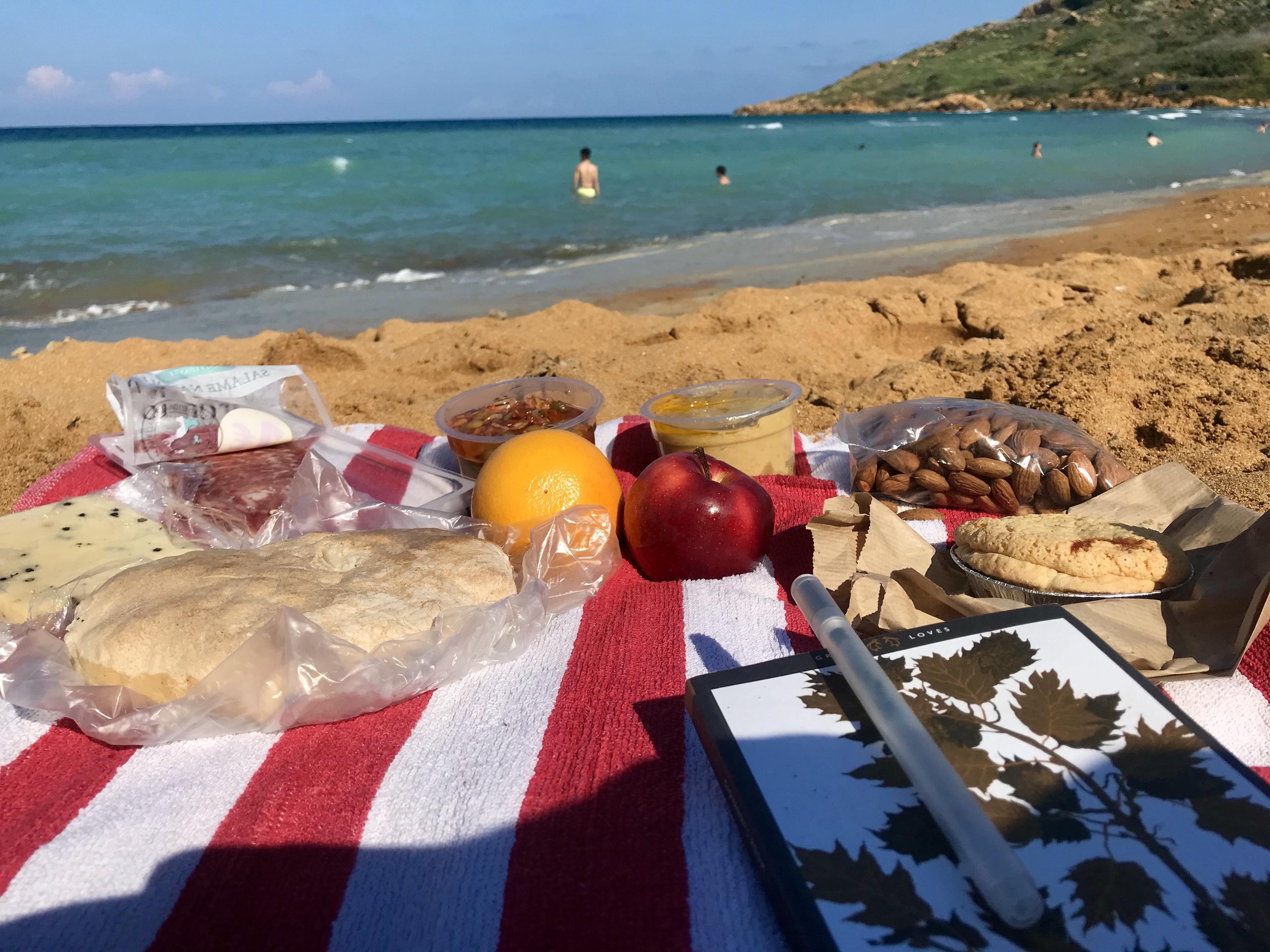 Picnic at Ramla Beach, Gozo, Malta