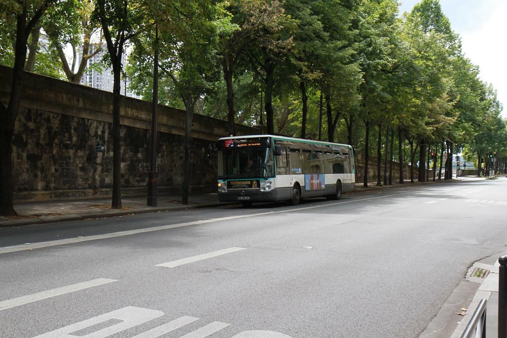 Public bus under trees