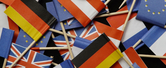 EU, French, and German Flags