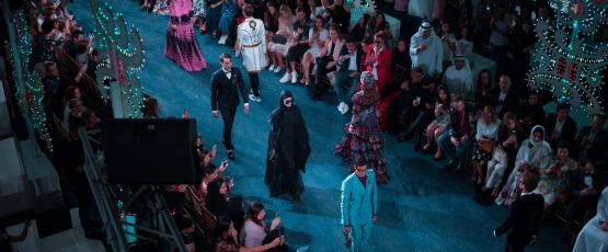 Models walk in a fashion show