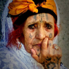 Woman with traditional Amazigh tattoos.