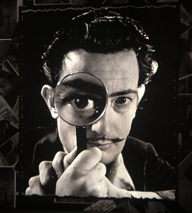 A black and white picture of Salvador Dalí