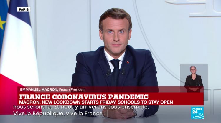 Macron announcing lockdown. Image Credit: France24