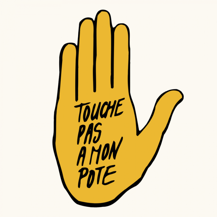 """Don't touch my friend"" hamsa logo for SOS Racisme. Image Credit: SOS Racisme"