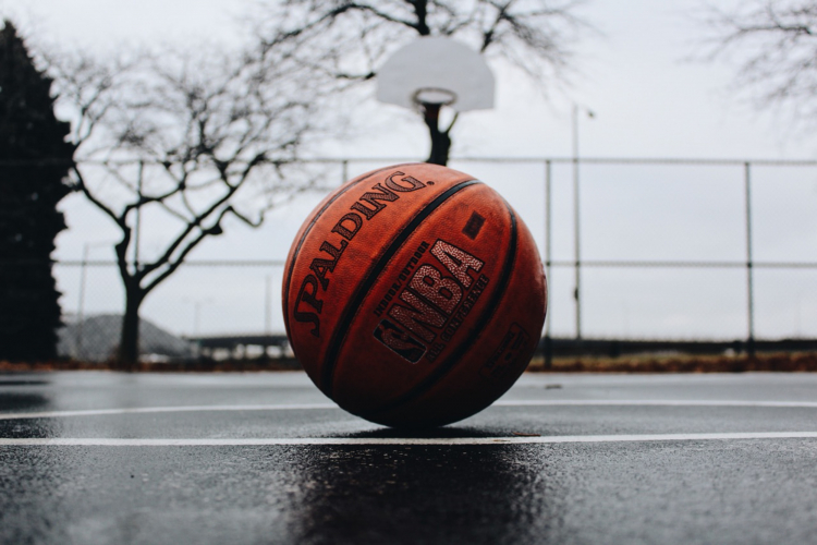Basketball on a basketball court